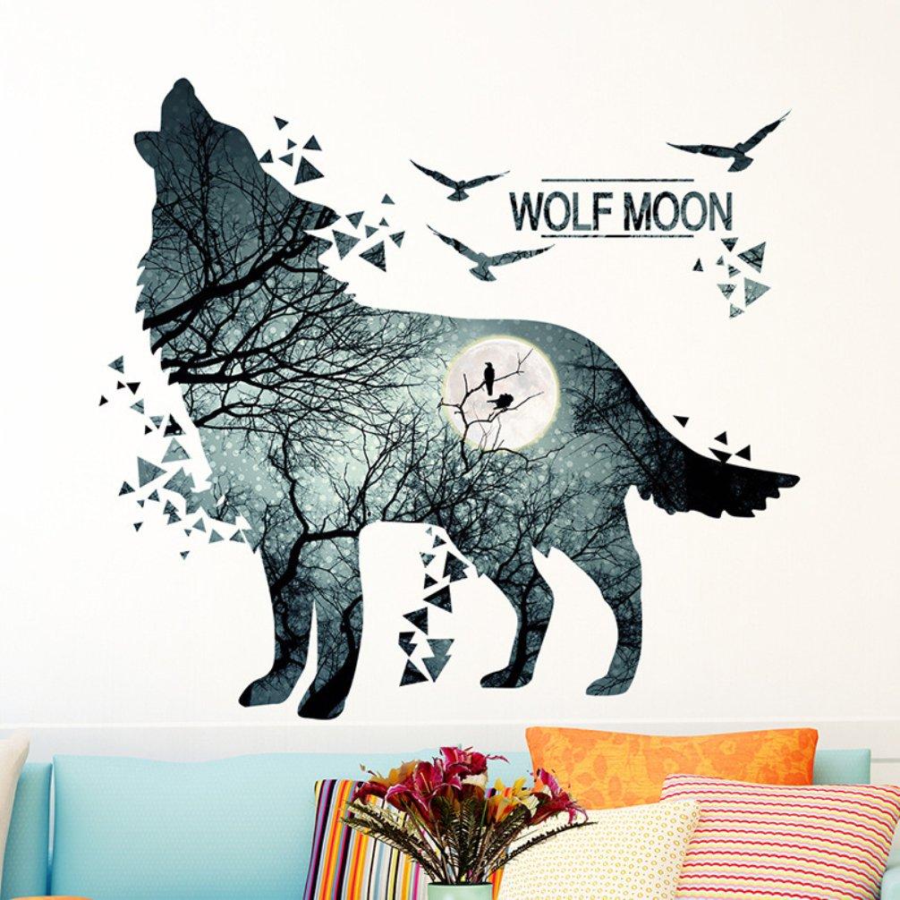 La Vie Wandsticker Wolf Entfernbar Wandaufkleber Wasserdicht Wandtattoo Art Bild Wandmalereien f/ür Schlafzimmer Wohnzimmer Badezimmer M/ädchen Baby Kinderzimmer
