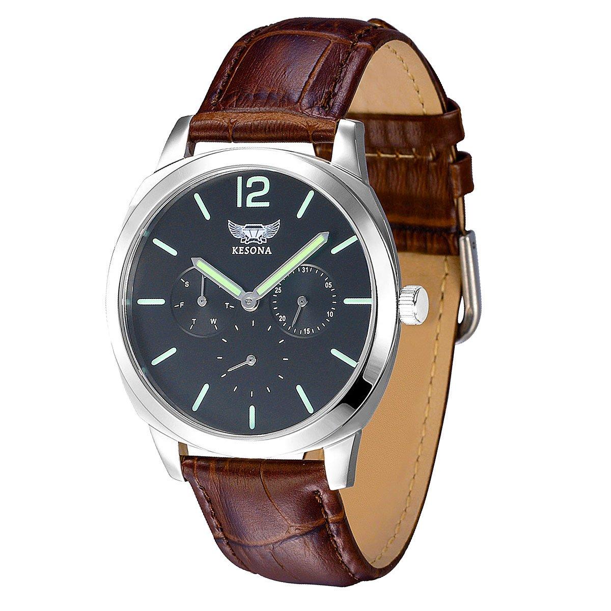 Men's Quartz Watch,KESONA Fashion Multifunction Luminous Waterproof Wrist Watch Sapphire Glass Business Casual Leather strap(Black) by KESONA