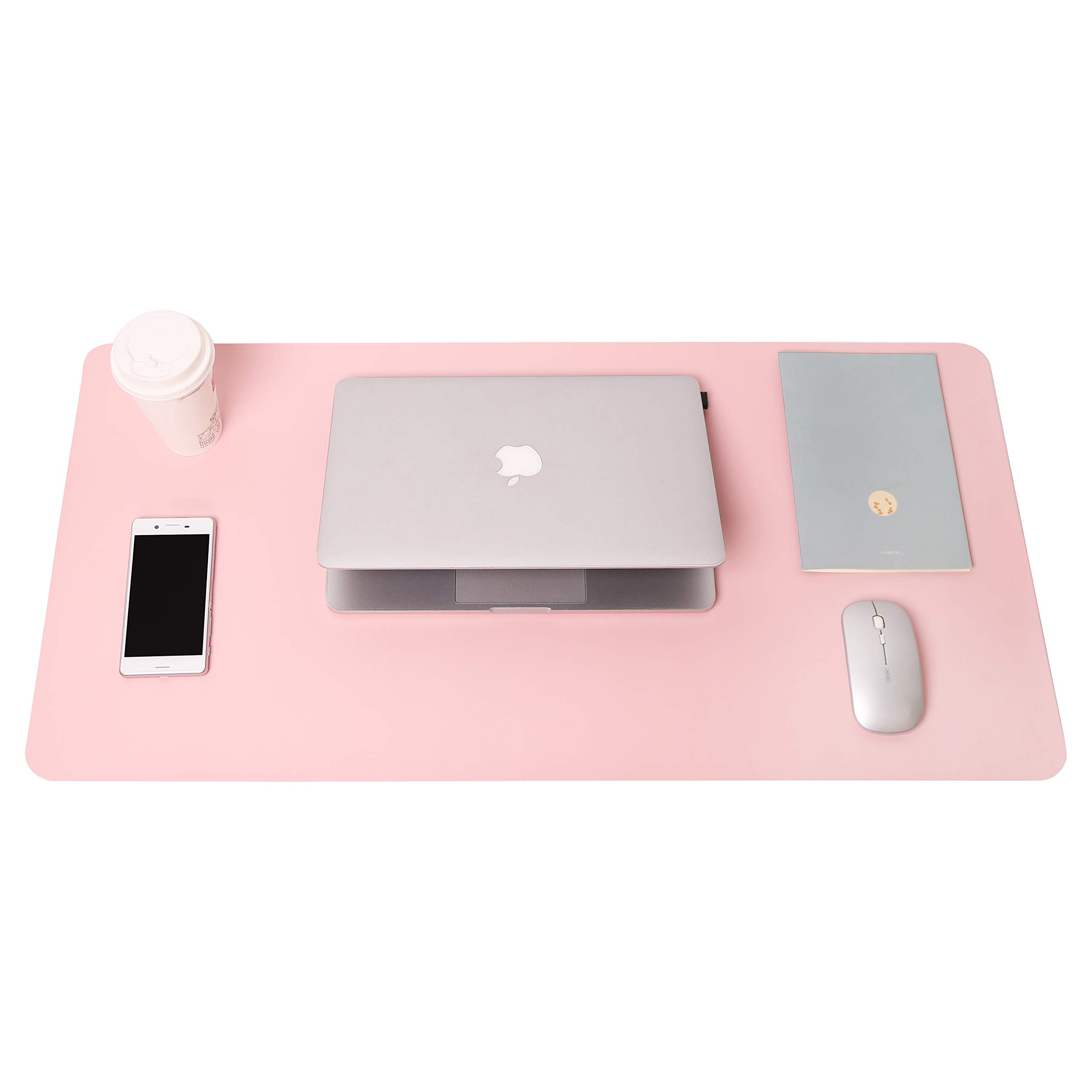 YSAGi Multifunctional Office Desk Pad, Ultra Thin Waterproof PVC Leather Mouse Pad, Dual Use Desk Writing Mat for Office/Home (Pink, 31.5'' x 15.7'') by YSAGi