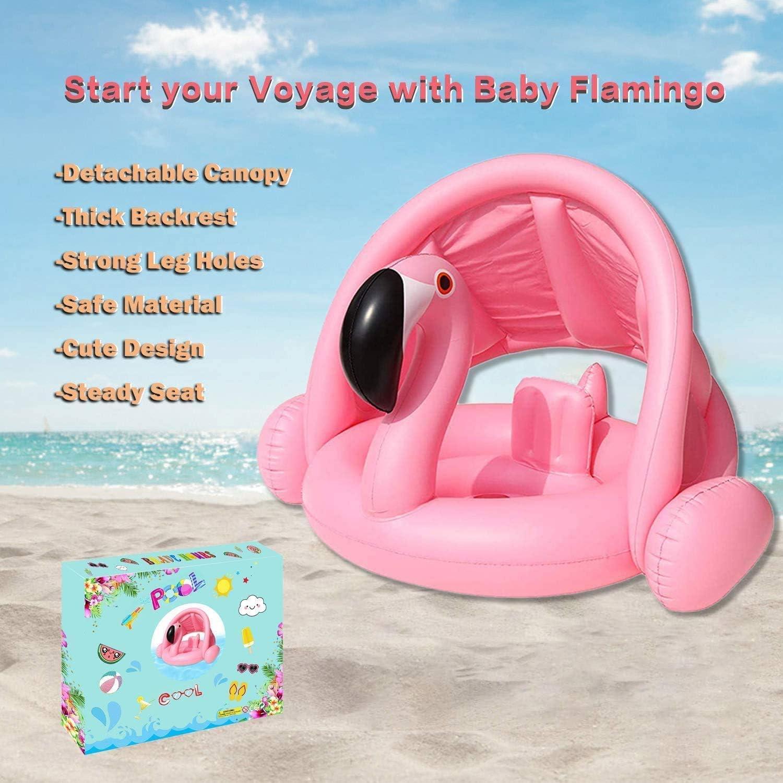 PVC YEARGER Flamingo Baby Schwimmring,Rosa Schwimmhilfe Baby Pool Schwimmring mit Sonnenschutz Aufblasbarer Schwimmreifen f/ür Kinder ab 6 Monaten bis 48 Monaten
