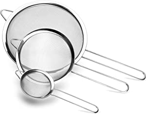"Fine Mesh Strainer, McoMce 3 Pack Strainers Fine Mesh, Premium Quality Strainers for Kitchen Food, Sifters with Long Handle, Small Medium Large Size Sifter for Baking, 3.12"", 5.5"", 7.8"", Silver"