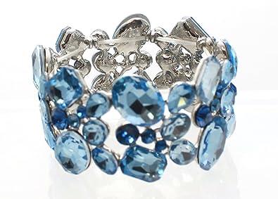 9f552c17a4f Carole Fay Jewelry Luminous Light Blue on Silver Stretch Bracelet, fits  almost every wrist!