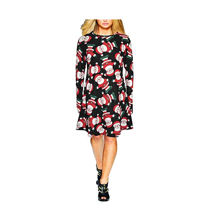 7816cc8e9c9a3 Papaval® Ladies Womens Long Sleeve Xmas Christmas Flared Party Swing Skater Dress  Top Santa Reindeer Snowman  Amazon.co.uk  Clothing