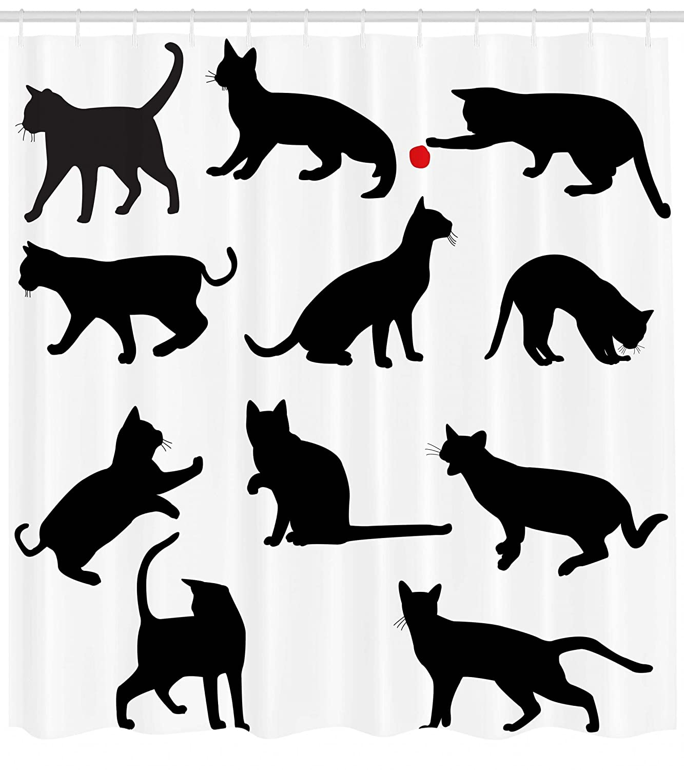 Ambesonne Cat Shower Curtain, Silhouette of Kittens in Various Postures Playing Red Ball Animal Pet Paw Print, Fabric Bathroom Decor Set with Hooks, 70 Inches, Vermilion Black