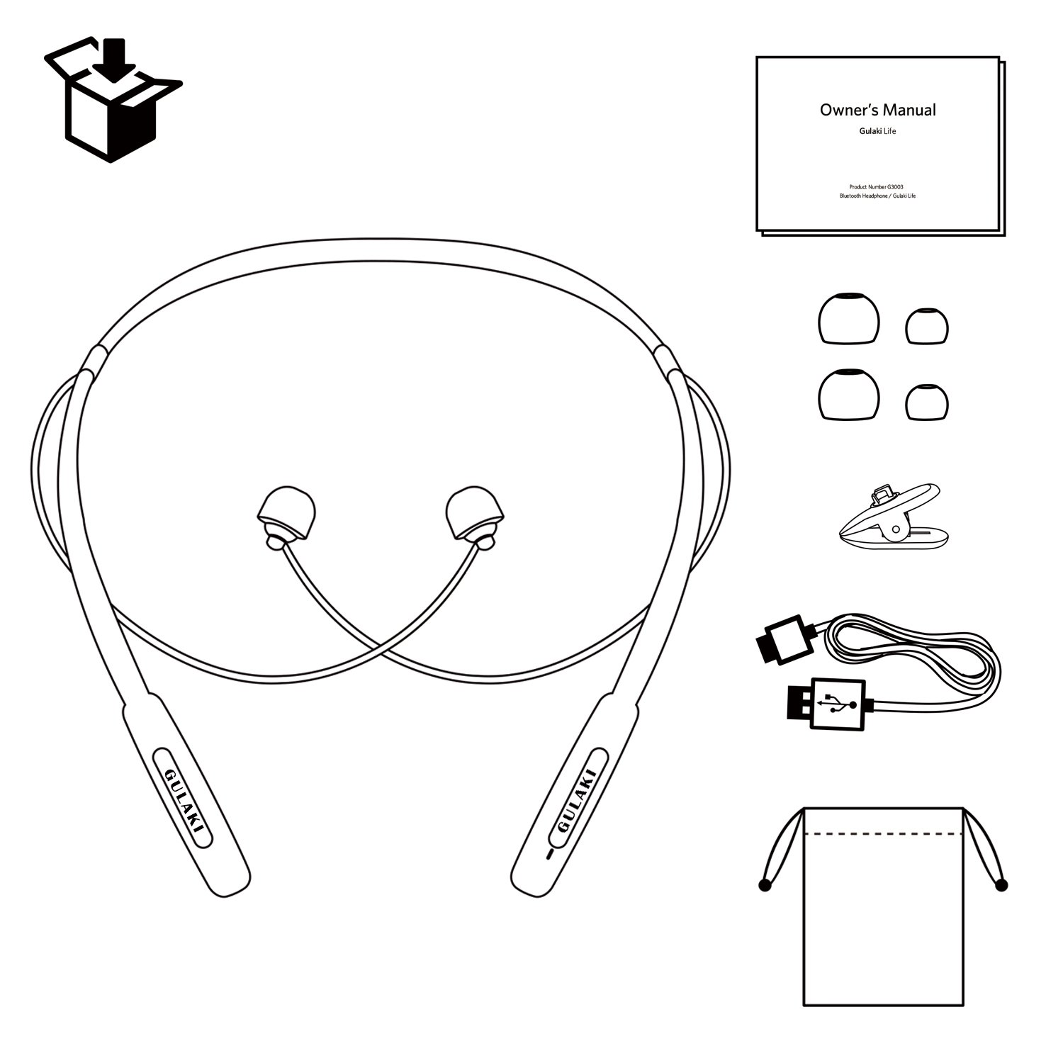 Bluetooth Headphones, GULAKI Wireless Bluetooth 4.2 Earphones Stereo Magnetic Earbuds Neckband Style Built-in Mic Fit for Sport (Black)