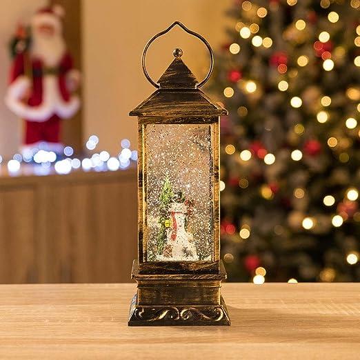 Christmas Lantern.Glitter Filled Water Spinner Christmas Lantern Led Snowman Ornament By Christow