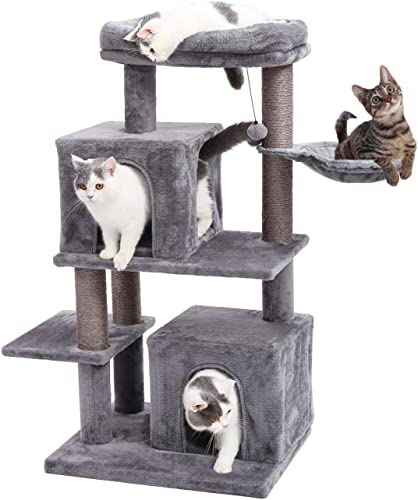 Made4Pets 45 Inches Stable Multi-Level Cat Tree Condo, Luxurious Kitten Activity Tower with Sisal-Covered Scratching Posts, Hammock and Spacious Perch