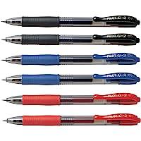 Pilot G2 pens retractable Gel Roller ballpoint 07 Fine point Black, Blue & Red Bundle (6)