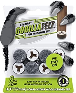 GorillaFelt CB240 Chair Leg Floor Protectors/Felt Glides (Set of 8) Tap On Felt Furniture Pads Guaranteed to Stay On, 3/4 Inch Round Sliders