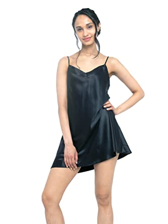 d8b135cba077 MYK 100% Mulberry Silk Slip Dress, Luxury Chemise Nightgown with Spaghetti  Strap for Women