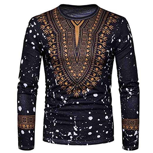 72ae732256e1 HGWXX7 T-Shirt Men Casual African Print Long Sleeved O-Neck Pullove Blouse  Top