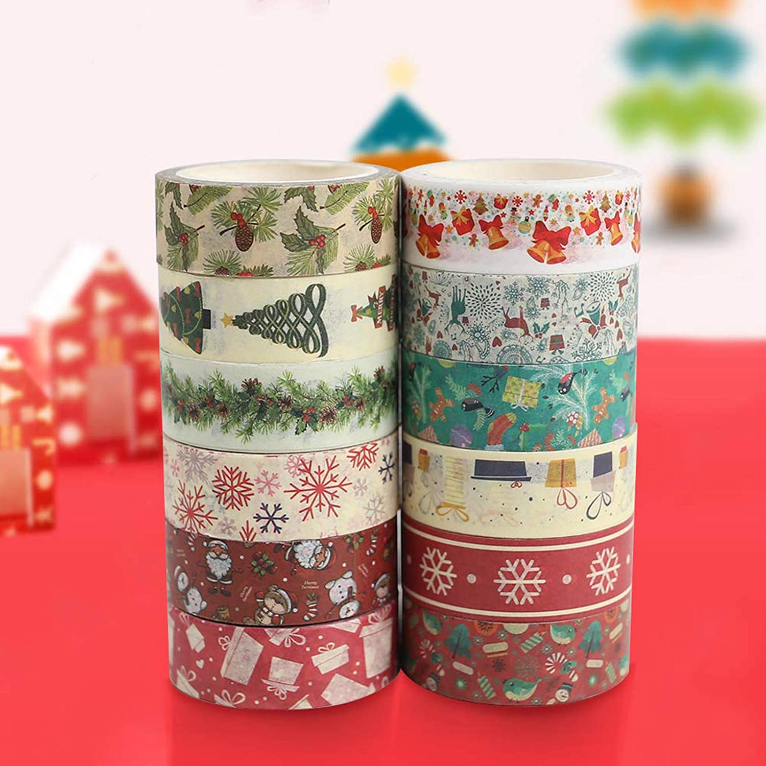 Sopcone 12 Rolls Christmas Washi Tape Total 5M 15mm Wide Masking Tape Set Decorative Foil Holiday Tape for Xmas Wall Tree DIY Scrapbooking Craft Project and Gift Wrapping Bullet Journal Calendar