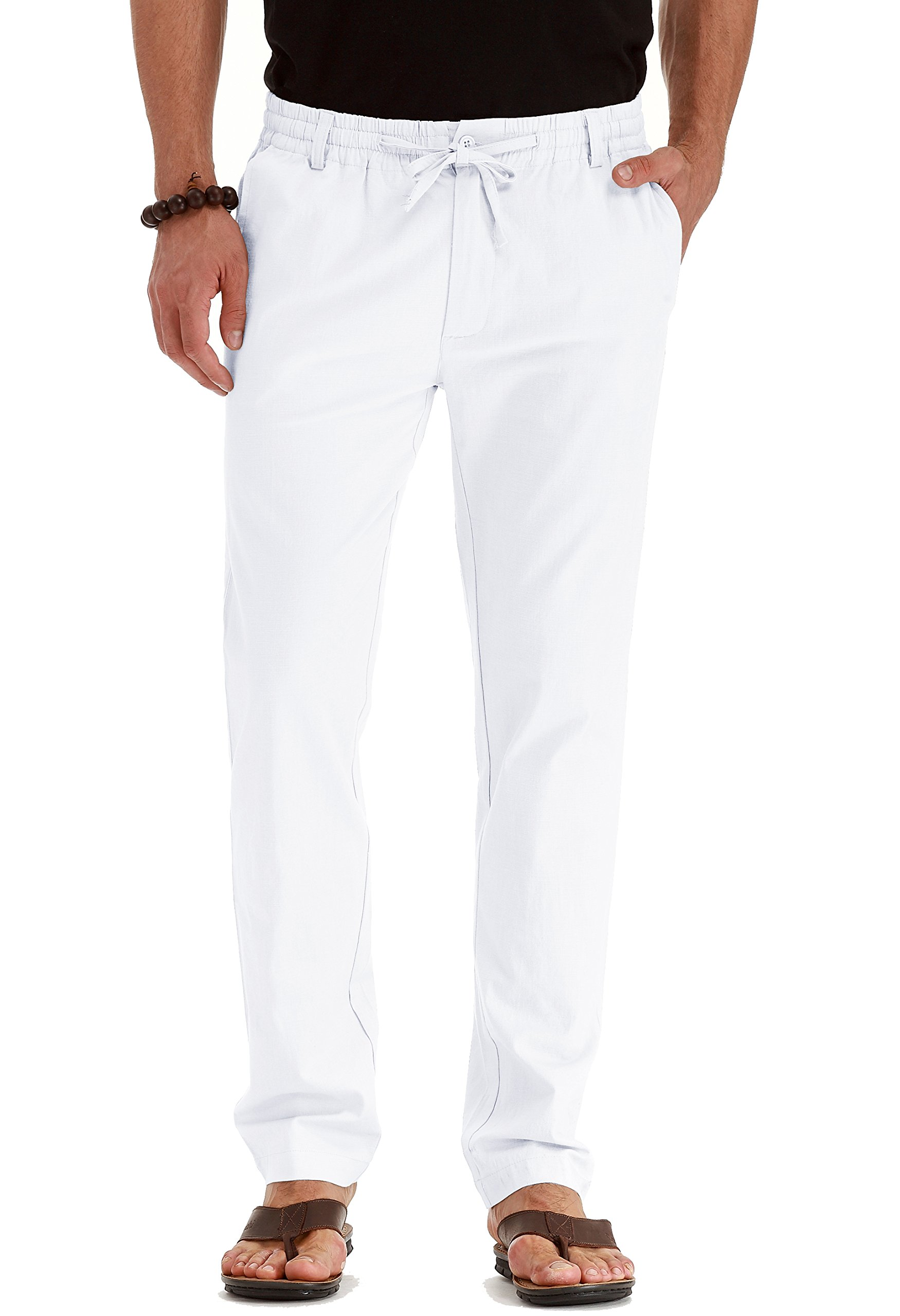 Mr.Zhang Men's Drawstring Casual Beach Trousers Linen Summer Pants Pure White-US 36 by Mr.Zhang