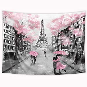Wowzone Eiffel Tower Pink Tress Tapestry 60x80 Inch Oil Painting Paris Modern Love Couple European City Landscape France City Black Gray Art Wall Hanging Bedroom Living Room Dorm Decor Fabric