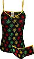 Ganja Weed Print Mesh Cami & Panty Set for women