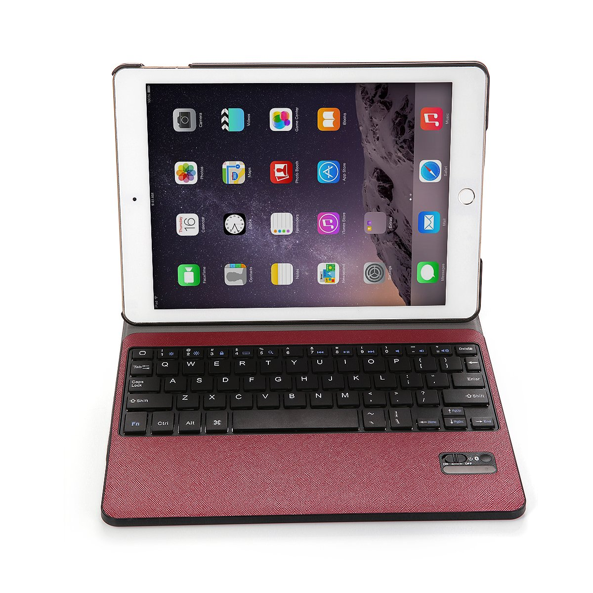 iPad Air 2 Keyboard Case, Poweradd Detachable Wireless Bluetooth Keyboard with Magnetic PU Leather Stand Case Cover for Apple iPad Air 2 iPad 6 - Red