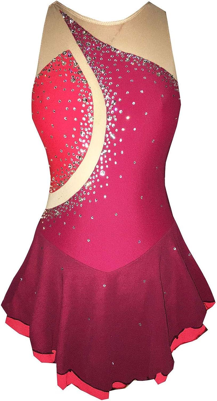 女の子のためのスケートドレス、女性のための手作りフィギュアスケート競技衣装ノースリーブスケートドレスラインストーンアップリケ レッド M
