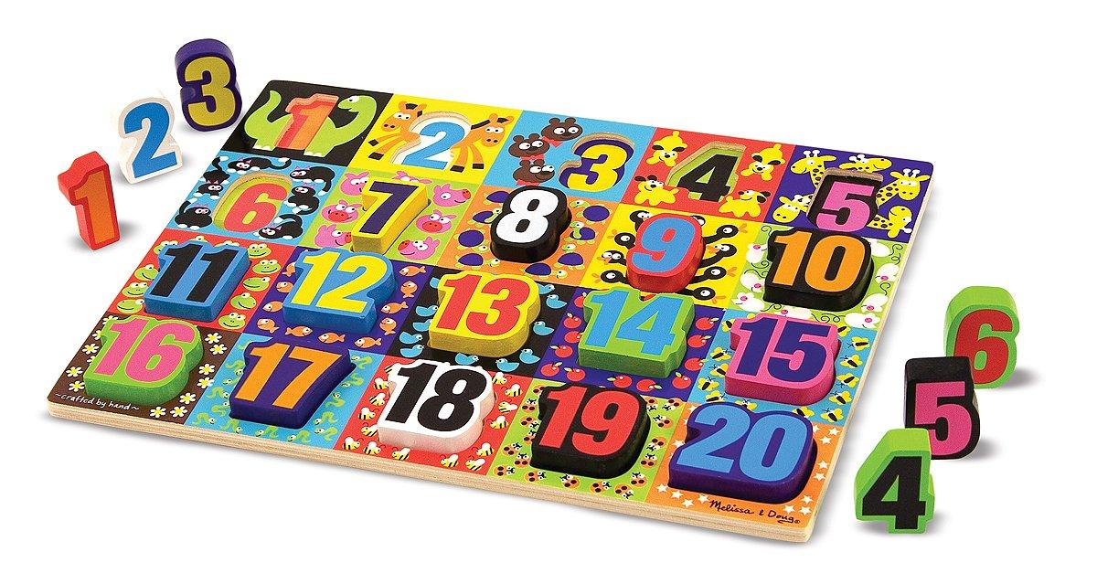 Melissa /& Doug Jumbo Numbers Wooden Chunky Puzzle 20 pcs 3832