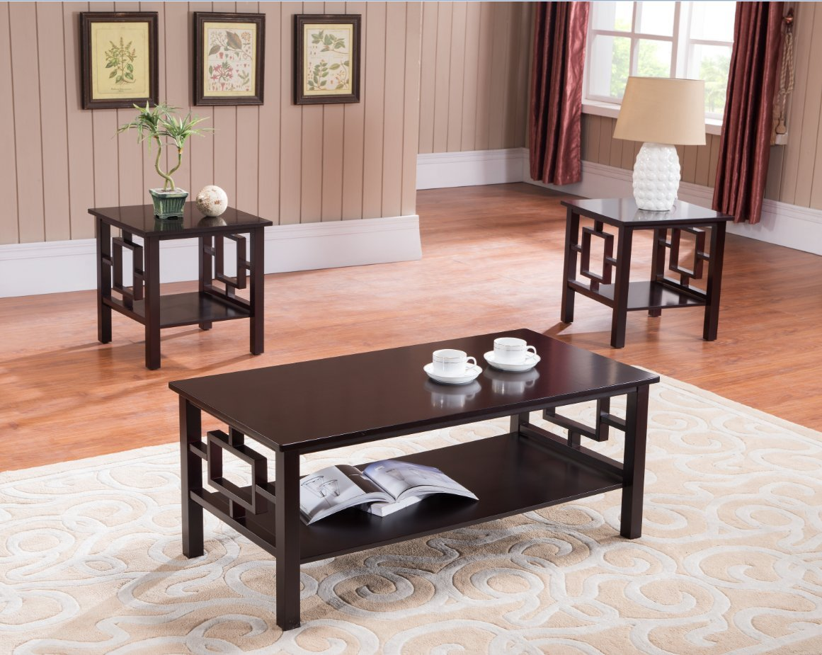 Amazon.com: 3 Pc. Kings Brand Cherry Finish Wood Coffee Table U0026 2 End Tables  Occasional Set: Kitchen U0026 Dining