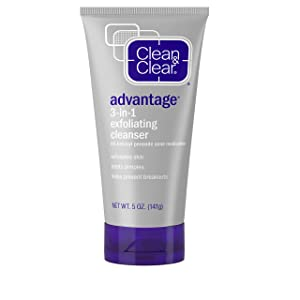 Clean & Clear Advantage 3-In-1 Daily Exfoliating Facial Cleanser with Benzoyl Peroxide Acne Medicine to Unclog Pores, Exfoliate Skin, Treat Pimples, & Prevent Breakouts, 5 oz