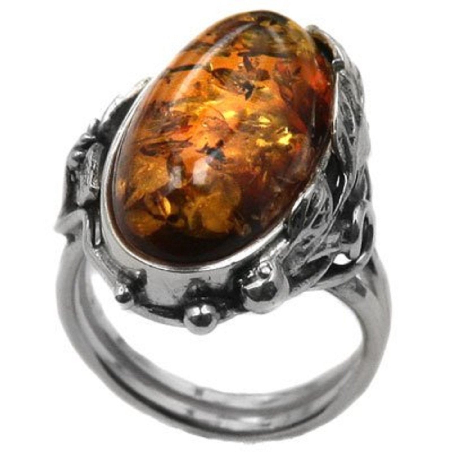 Amber Sterling Silver Oval Victorian Ring Size