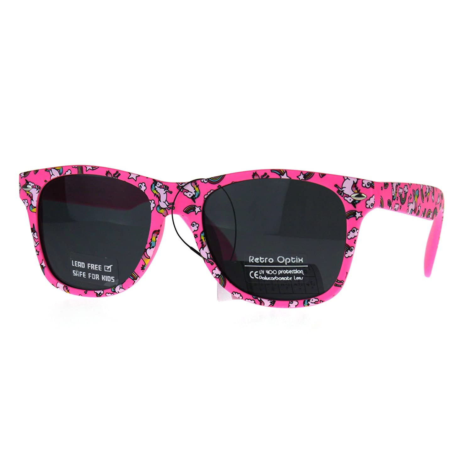 Kids Child Size Girls Unicorn Print Plastic Horn Rim Sunglasses kgwf01uni-bk