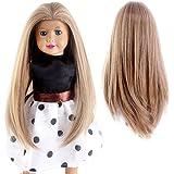 "STfantasy Doll Wig American Girl Barbie Baby BJD SD AG Doll Long Straight Lolita Harajuku Synthetic Hair for 18"" Doll (16"" Mixed Blonde)"
