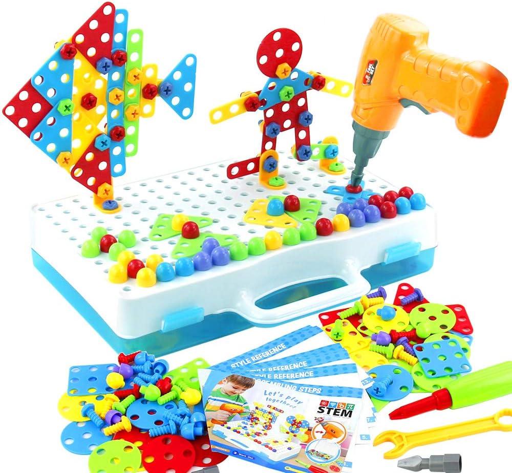 jerryvon Mosaico Puzzle con Rejilla y Taladro Eléctrico Juguete de Construcción Caja de Herramientas Juegos Creativos y Manualidades Regalos para Niños 3+