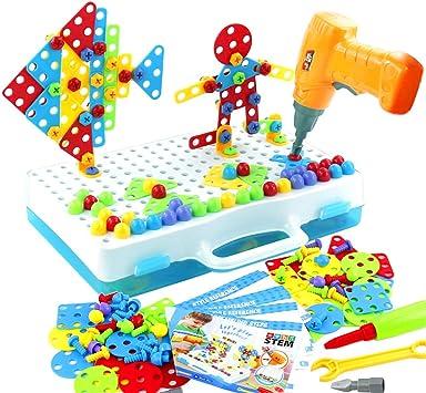 jerryvon Mosaico Puzzle con Rejilla y Taladro Eléctrico Juguete de Construcción Caja de Herramientas Juegos Creativos y Manualidades Regalos para Niños 3+: Amazon.es: Juguetes y juegos