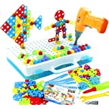 jerryvon Mosaico Puzzle con Rejilla y Taladro Eléctrico Juguete de Construcción Caja de Herramientas Juegos Creativos y…