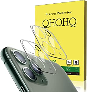 """[2 Pack] QHOHQ Camera Lens Protector Compatible with iPhone 11 Pro Max(6.5"""") and iPhone 11 Pro(5.8""""), Tempered Glass Film,[Easy to Install] [9H Hardness] Anti-Scratch Screen Protector - HD Clear"""