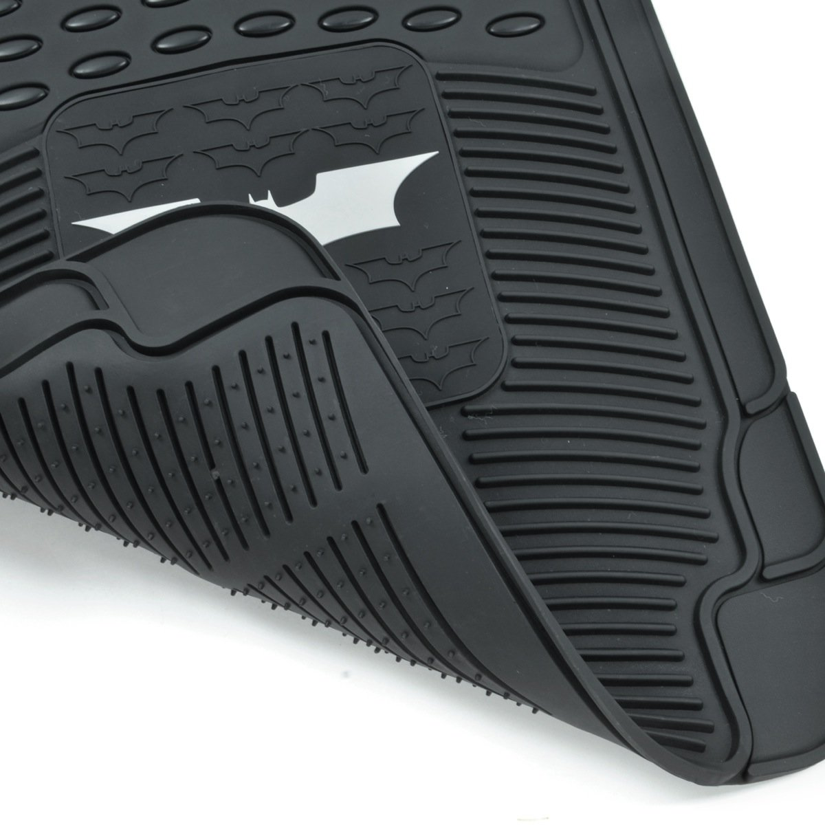 Warner Brothers Trimmable to Fit Dark Knight Batman Rubber Floor Mats for Car 3 PC Set
