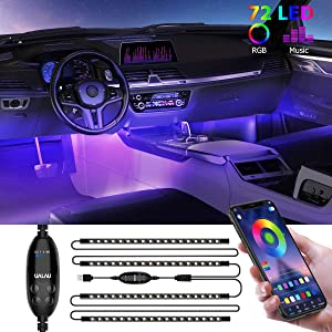 Car LED lights, UALAU 72 LED USB Interior Car Lights APP Controller Party Light Bar Sync to Music, Multi DIY Color Under Dash Lighting Kits, Car Accessories for Jeep Truck Various Car