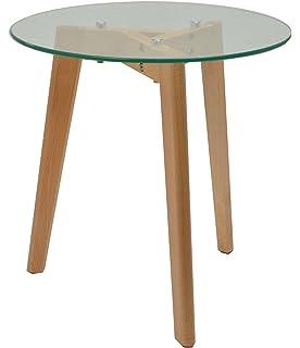 Ts Ideen Glastisch Beistelltisch Loungetisch Buchenholz Füße 8 Mm ESG  Sicherheitsglas