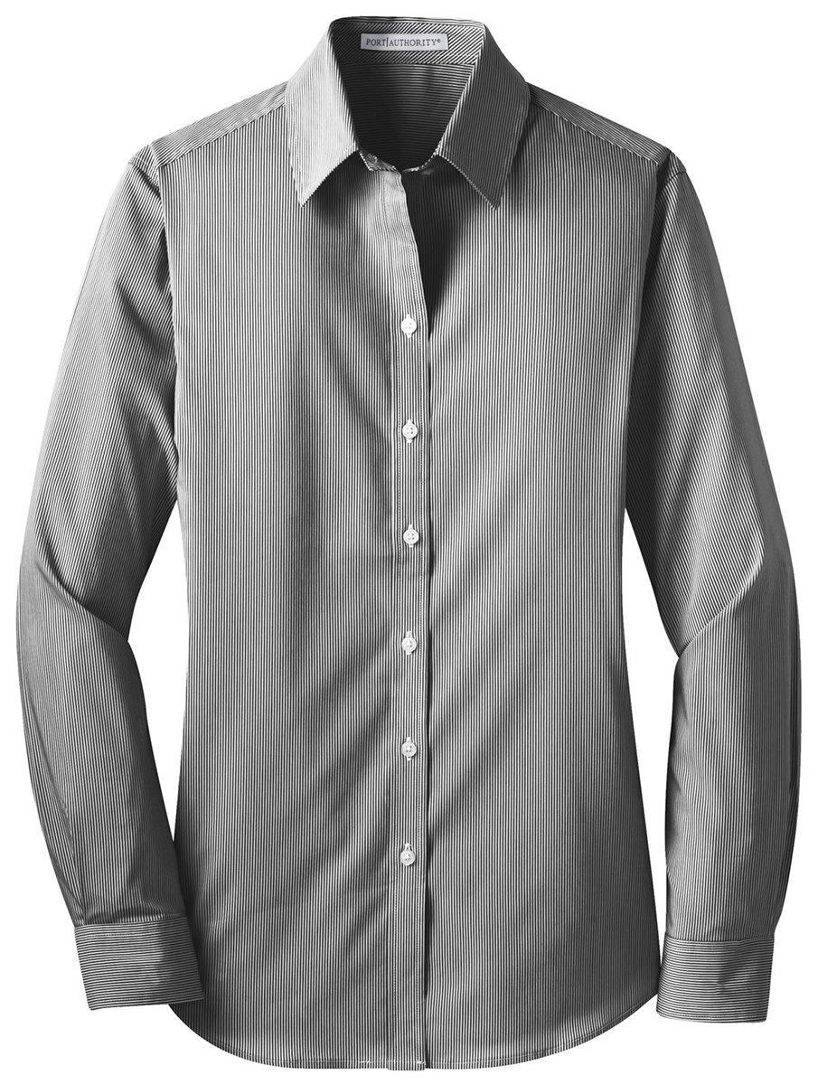 Port Authority Ladies Fine Stripe Stretch Poplin Shirt, Black/ White, Small