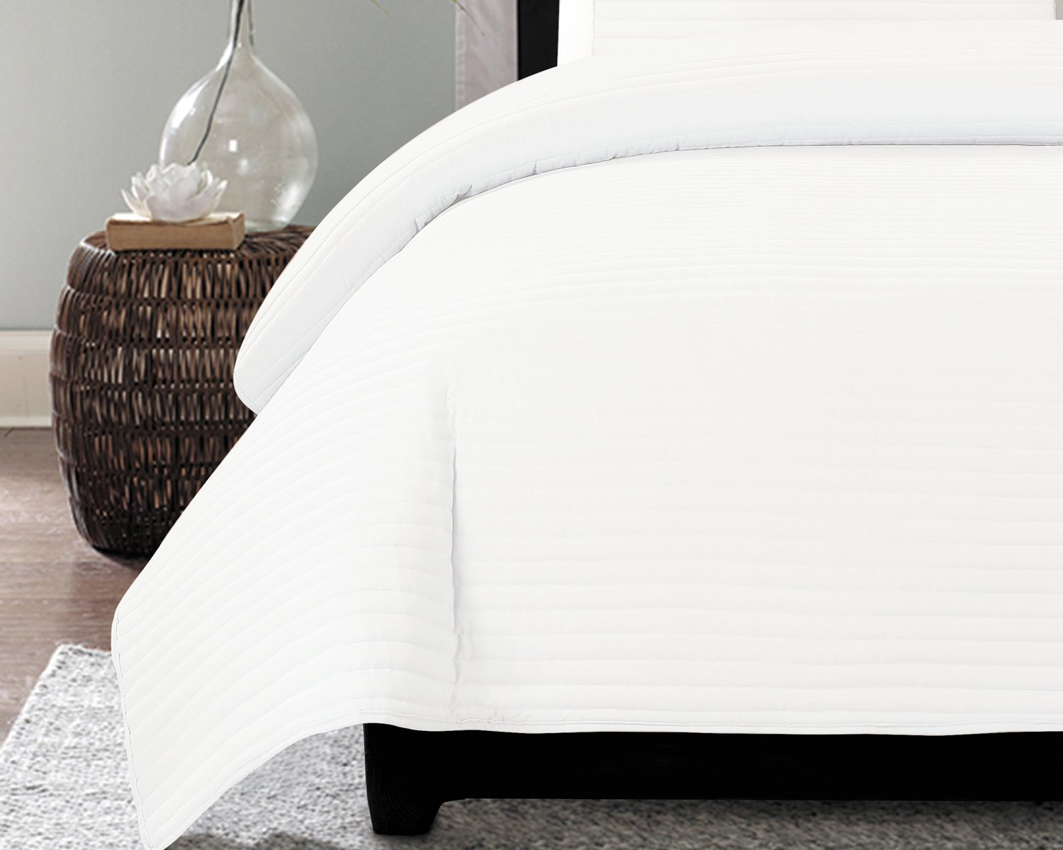 NC Home Fashions One Inch Channel quilt set, King, Bright White by NC Home Fashions Inc. (Image #2)