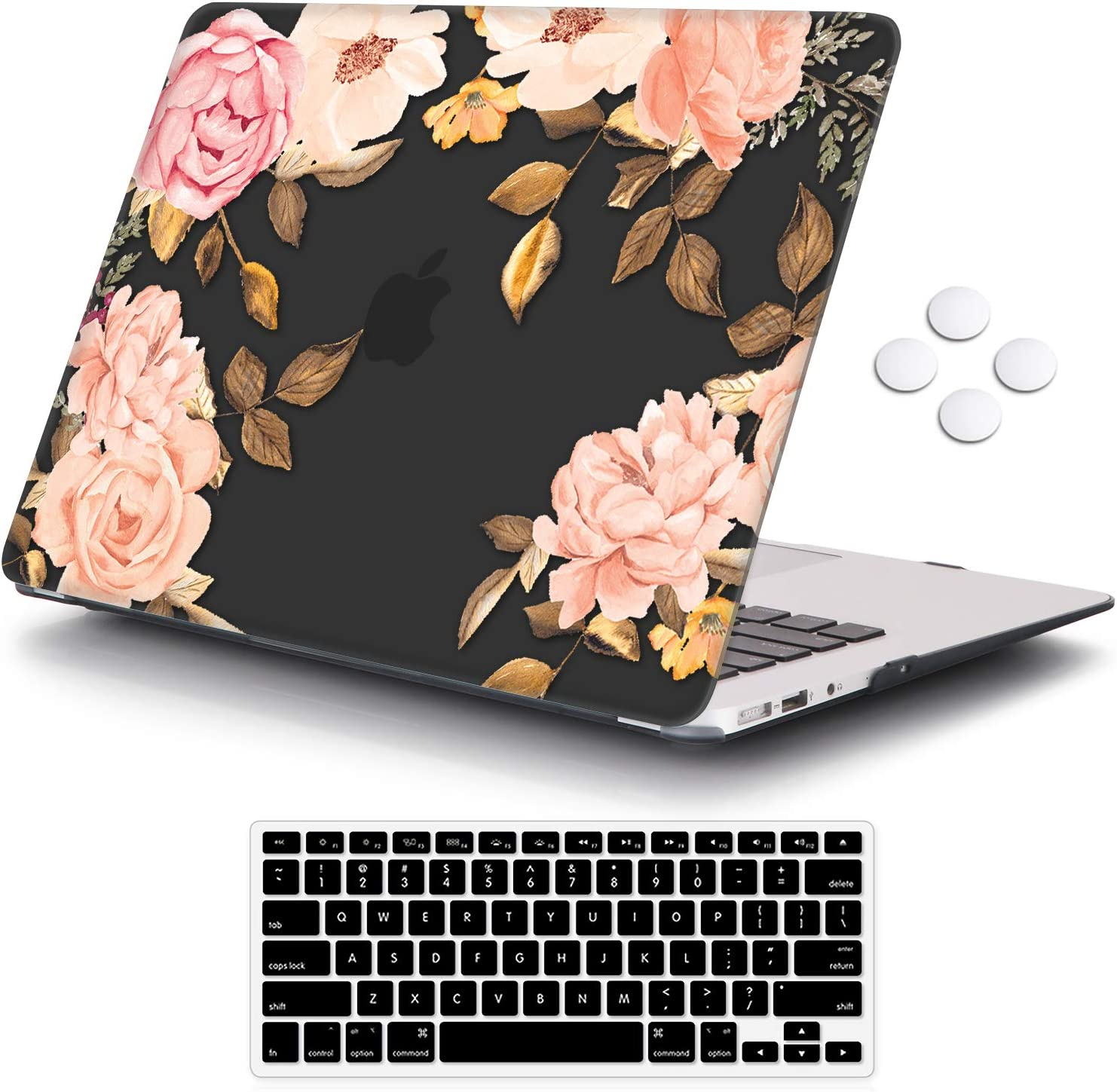 iCasso MacBook 12 Inch Case 2017 2016 2015 Release, Plastic Pattern Hard Shell with Keyboard Cover Compatible MacBook 12 Inch Retina Display Model A1534 - Watercolor Rose