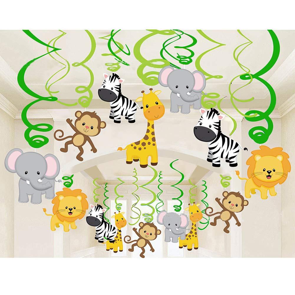 Haocoo Selva Fiesta Remolino Espiral y Happy Birthday Bandera Guirnaldas de Fiesta Bosque Animal Decoraciones Colgantes Kit Techo Casa Decoraci/ón para Baby Shower Ni/ños Fiesta de cumplea/ños