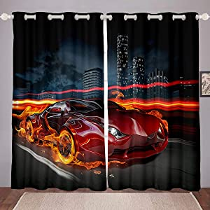 Race Car Window Curtains Boys Teens Kids Sports Car Decor Window Drapes Sports Theme Blackout Curtains for Kids Girls Car Extreme Sport Living Room Bedroom Kitchen Blackout Curtains, 84