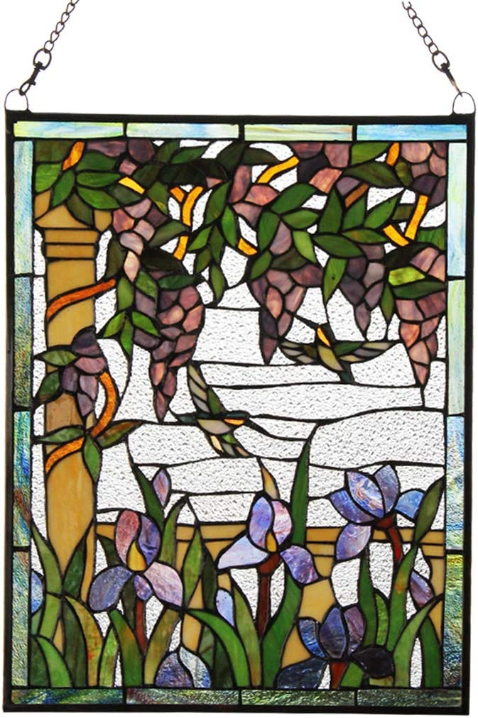 Makenier Vintage Art Nouveau Tiffany Style Stained Glass Wisteria Iris Humming Bird Window Hanging Window Panel Widnow Pane Window Wall Decor Decoration