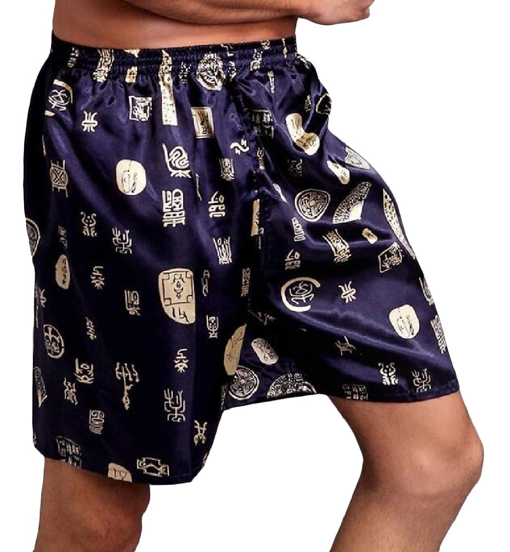 Pandapang Men's Thin Casual Faux Silk Printed Shorts Loose Pajama Pants Blue S