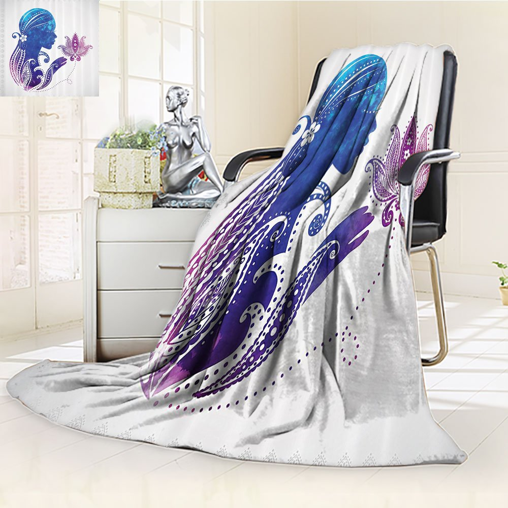 Teen Girls Custom Blanket By Nalohomeqq GirlS Silhouette With Flowers On Her Hair Floral Ornaments Meditation Spa Artwork Accessories Purple Blue
