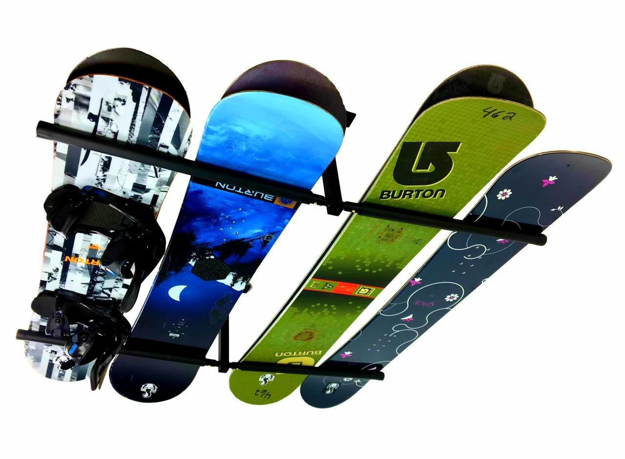 StoreYourBoard Ski & Snowboard Ceiling Storage Rack Hi Port 2 Overhead Hanger Mount