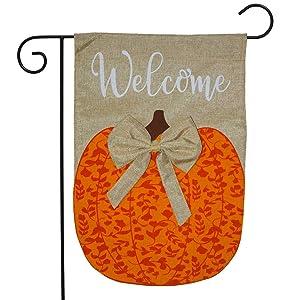 "Briarwood Lane Autumn Pumpkin Burlap Garden Flag Welcome 12.5"" x 18"""