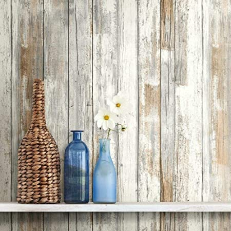 White Distressed Wood Peel and Stick Wallpaper