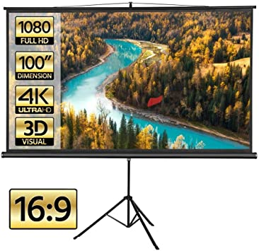 Portable Projector Screen with Tripod Stand 100 inch 16:9 Indoor Outdoor Foldable Movie Screen with Wrinkle-Free Design HD Projection Screen for Home Theater Cinema Wedding Party Office