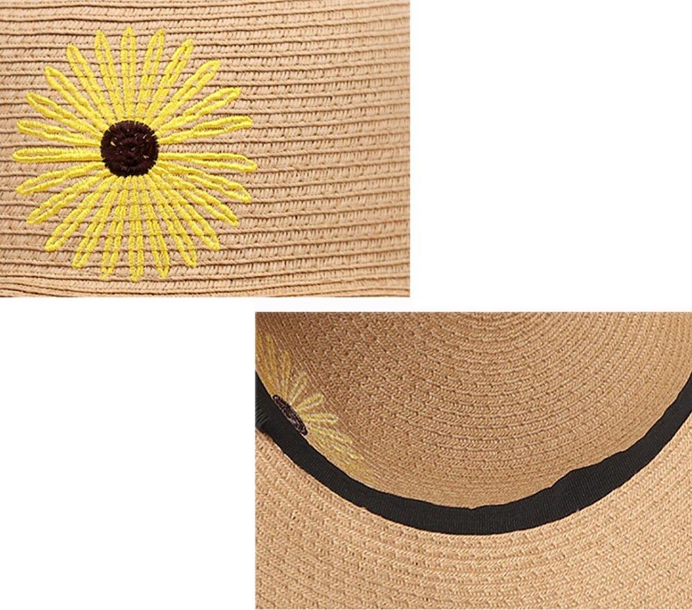 YXX- Margaritas de Arte Sombrero de paja de playa Protección UV Mujeres de  ala ancha Gorra de visera Sombrero de verano Sombrero de sol de viaje al  aire ... 9fe45ba1a44