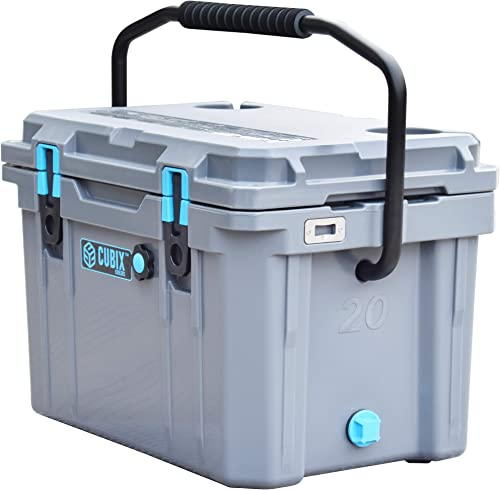 Cubix Ice Chests and Coolers 20 Quart Gray Lifetime Rotomolded Ice Cooler Portable and Hard Great for Camping, Travel, Fishing, Beach and Patio