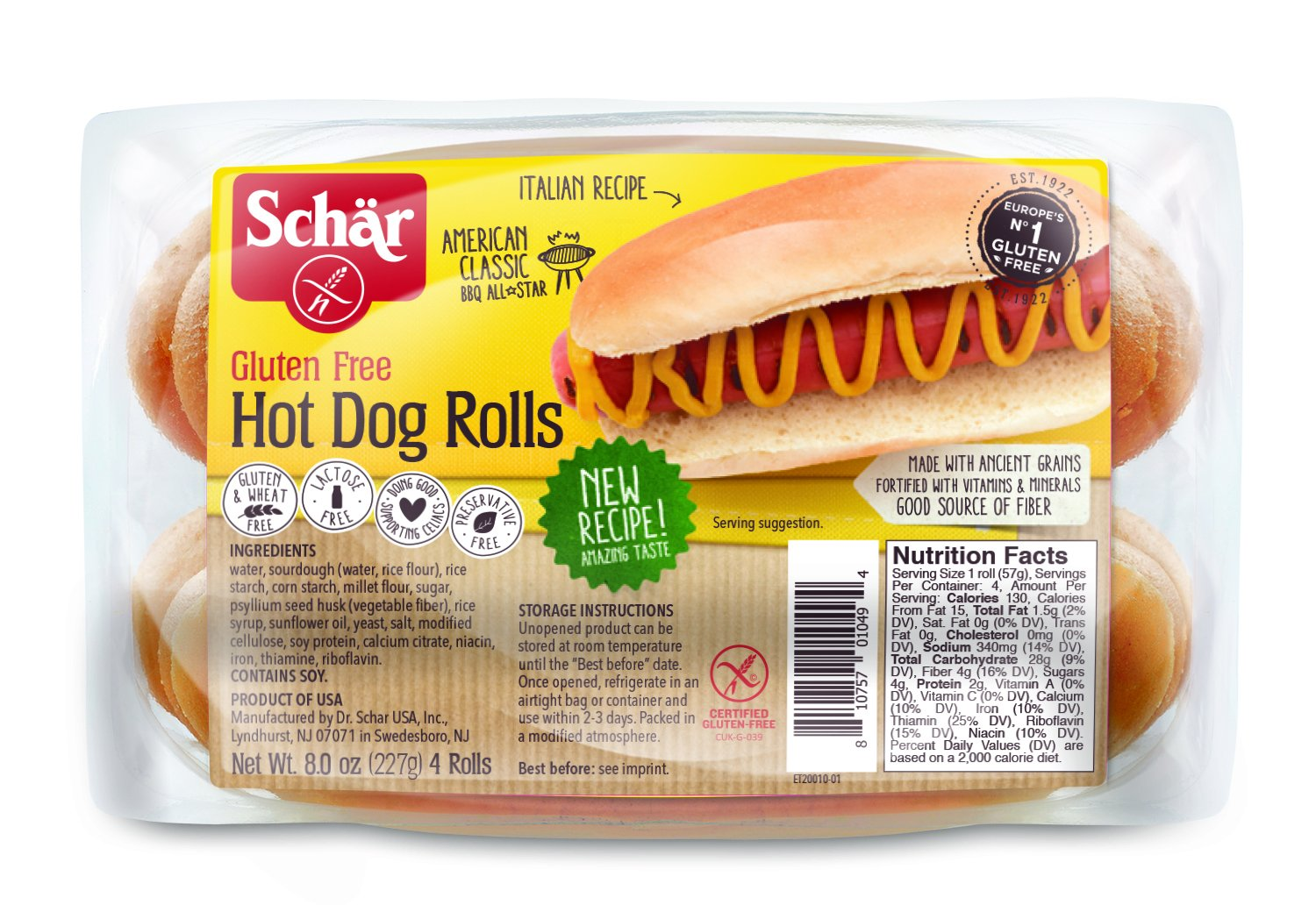 Schar Gluten Free Hot Dog Rolls 8 Ounce Packaging May Vary Amazon Com Grocery Gourmet Food