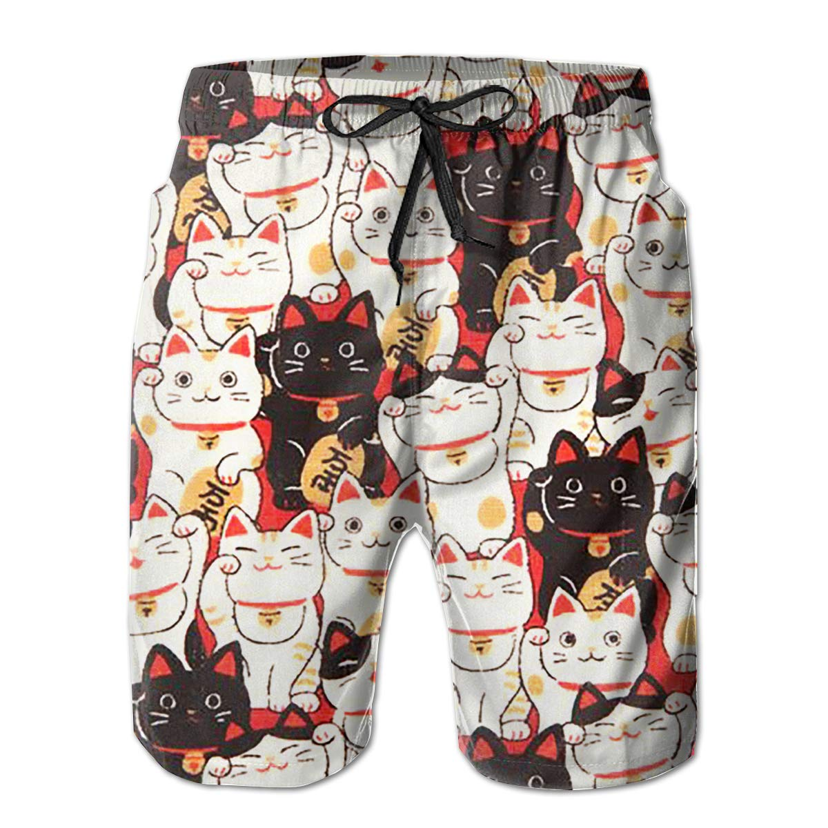 Mens Swim Trunks Lucky Cat Quick Dry Beach Board Shorts with Mesh Lining